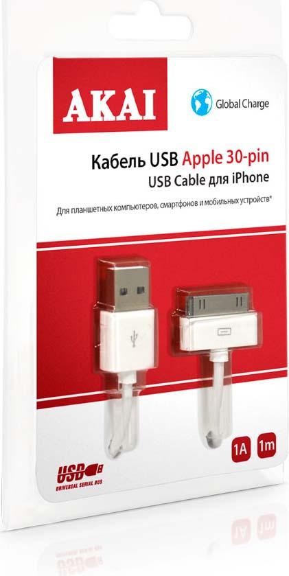 Дата-кабель Akai, CE-601, USB- 30 pin, оплетка TPE, белый, 1 м кабель akai usb – apple lighting gray