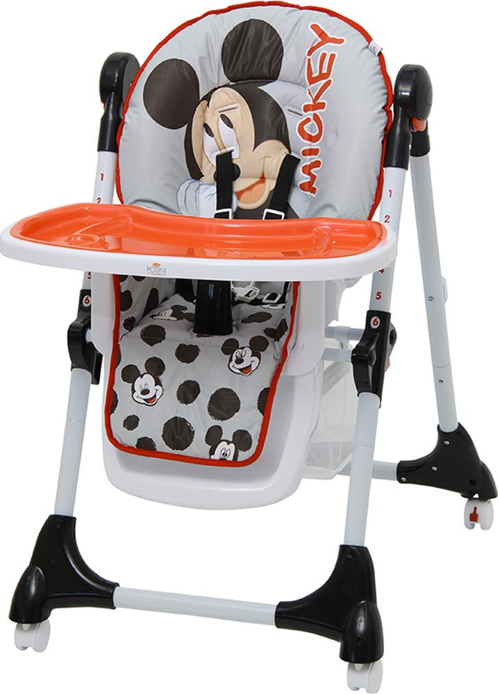 Стульчик для кормления Polini Kids Disney Baby 470 Микки Маус, 827431, серый стульчик для кормления polini kids 252 единорог радуга 0001713 03 серый