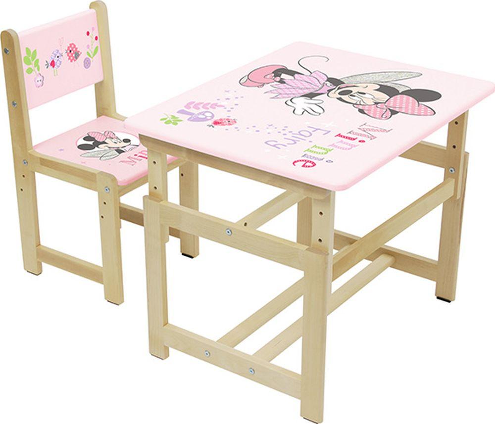 Комплект растущей детской мебели Polini Kids Disney baby 400 SM Минни Маус, розовый, натуральный