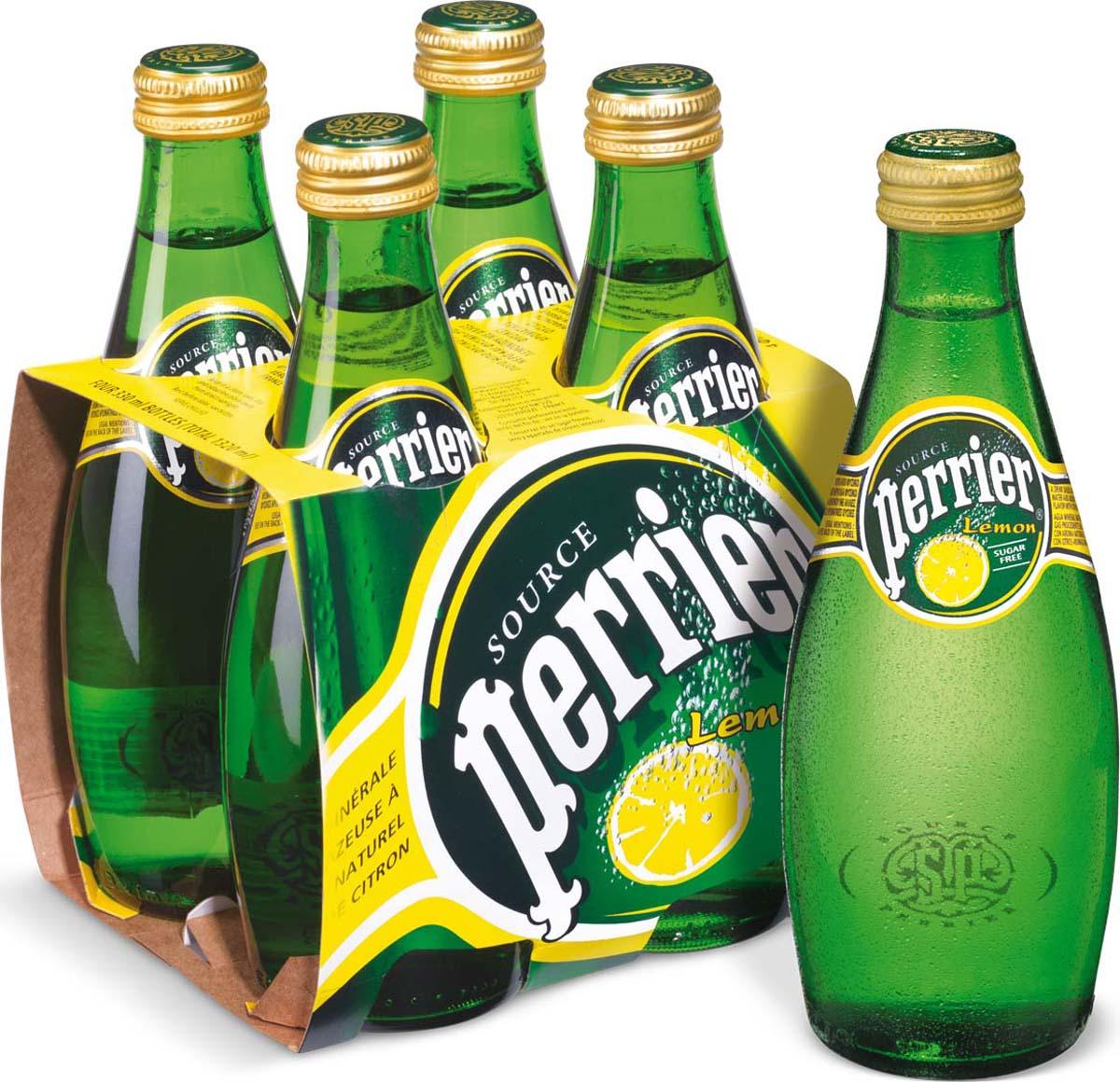Вода минеральная Perrier газированная со вкусом лимона, 4 шт по 0,33 л