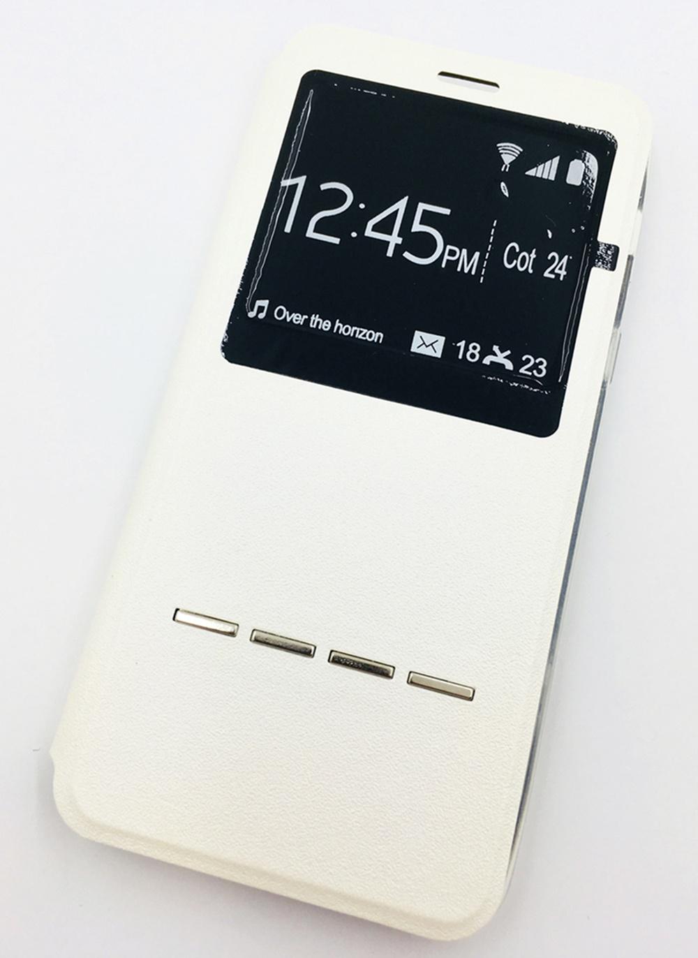 Чехол для сотового телефона Мобильная мода Samsung A8 2018 Чехол-книжка с окном и интерактивной полосой, белый