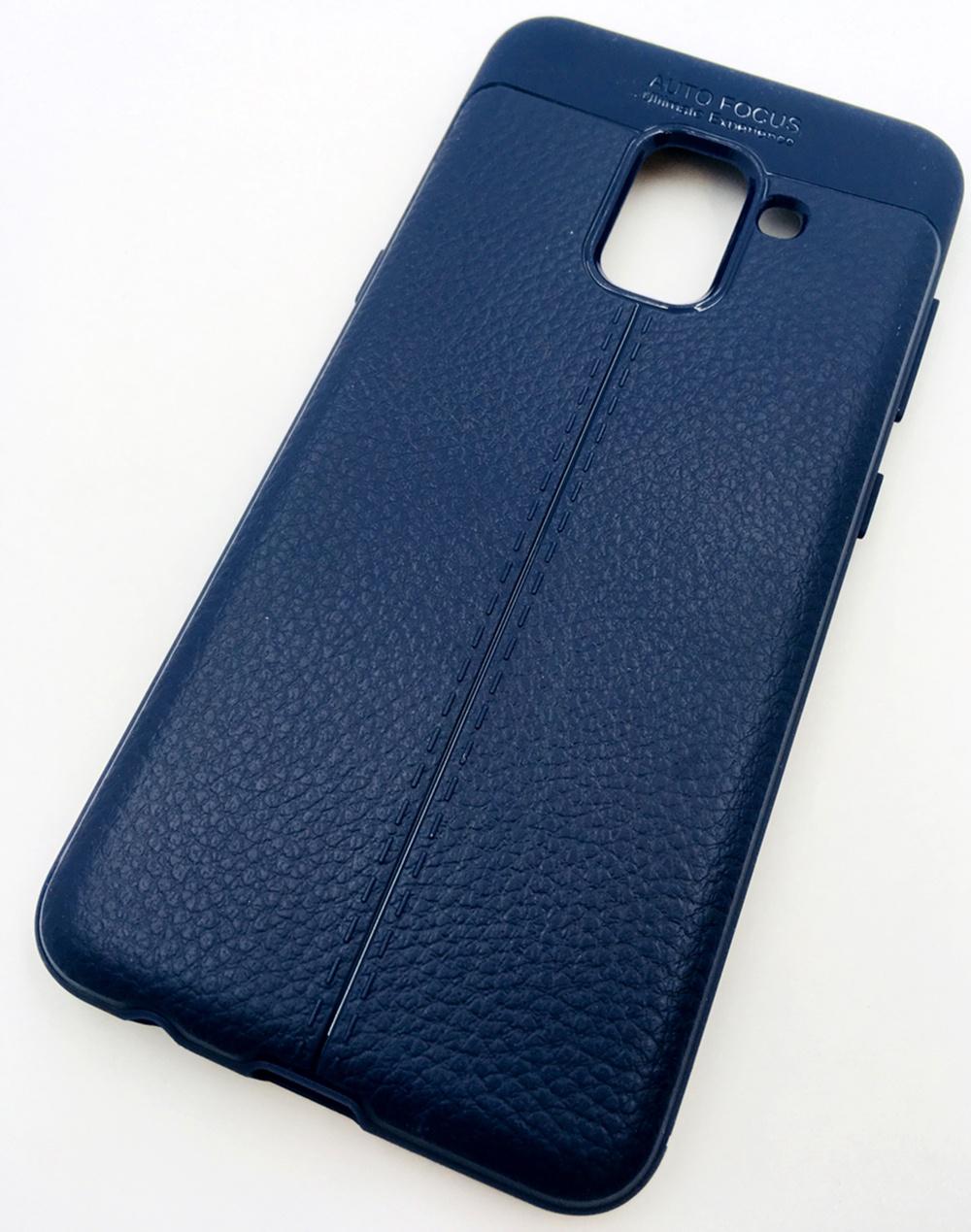 Чехол для сотового телефона Мобильная мода Samsung A8 2018 Накладка силиконовая, структура кожи, 13791, синий