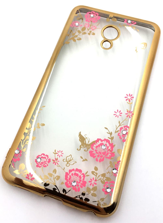 Чехол для сотового телефона Мобильная мода Meizu MX6 Силиконовая, прозрачная накладка со стразами, 6370G, золотой все цены