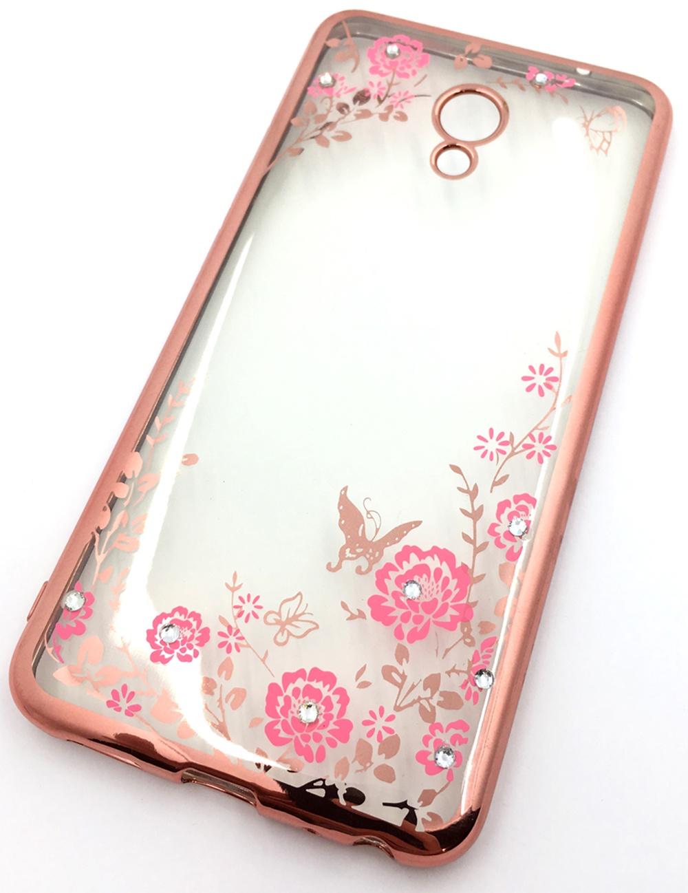 Чехол для сотового телефона Мобильная мода Meizu MX6 Силиконовая, прозрачная накладка со стразами, 6370R, розовый все цены