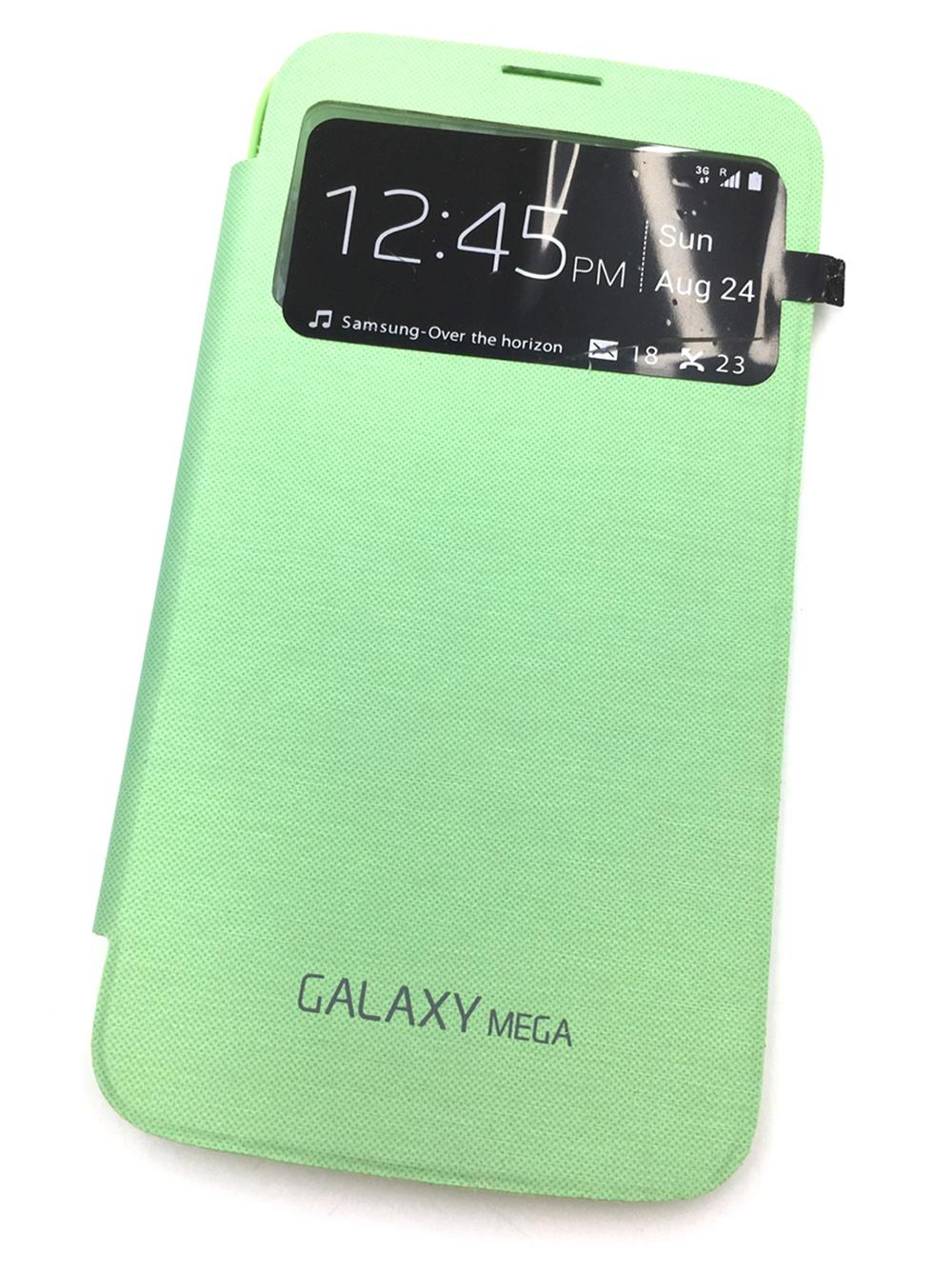Чехол для сотового телефона Мобильная мода Samsung MEGA GT-I9200/GT-I9208 Чехол-книжка с окном и съемной задней панелью, 6411A, зеленый
