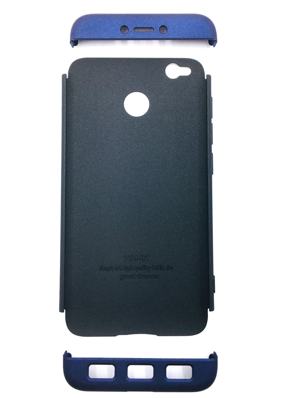 Чехол для сотового телефона Мобильная мода Xiaomi Redmi 4X Накладка пластиковая, противоударная, пенал, передняя и задняя часть, 6734A, черный (7126)