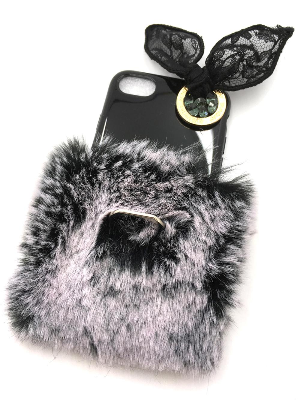 Чехол для сотового телефона Мобильная мода iPhone 7 Накладка меховой аксессуар с бантом 6944, черно-серый все цены