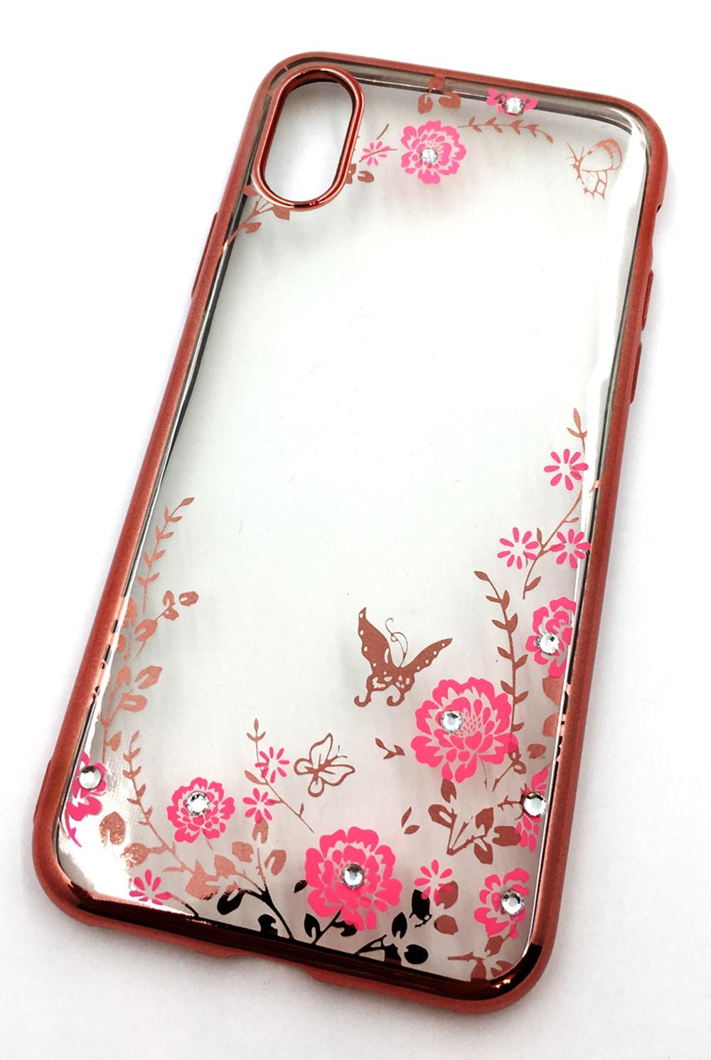Чехол для сотового телефона Мобильная мода iPhone X Силиконовая, прозрачная накладка со стразами, 6973R, розовый цена и фото