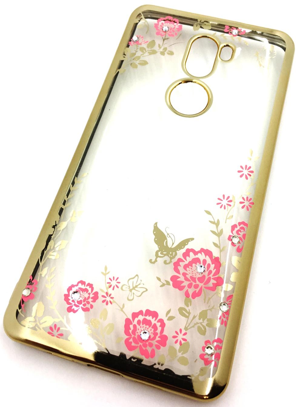 Чехол для сотового телефона Мобильная мода Xiaomi Mi5S Plus Силиконовая, прозрачная накладка со стразами, 6975G, золотой чехол для сотового телефона мобильная мода meizu pro 6 силиконовая прозрачная накладка со стразами 6371g золотой