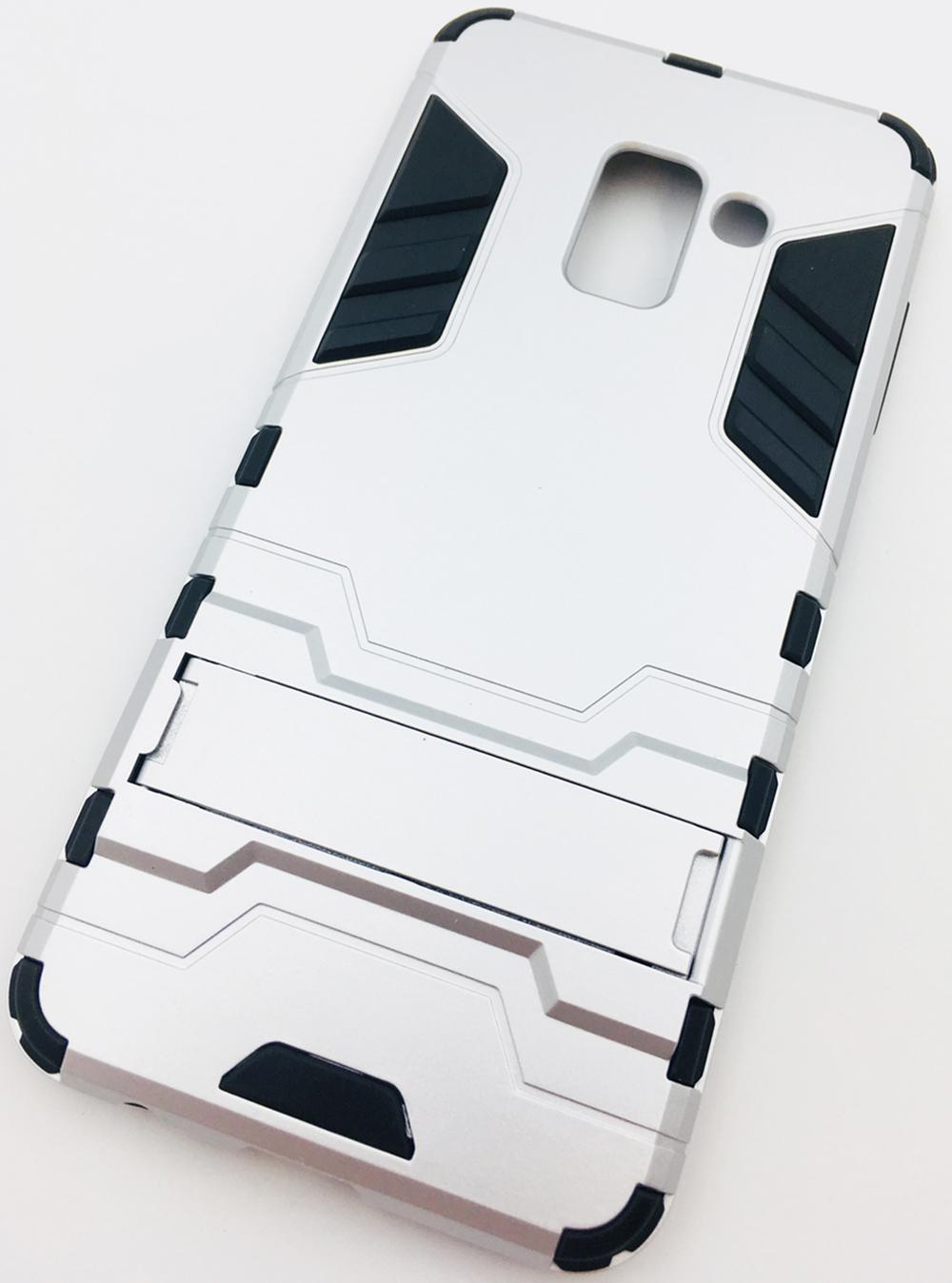 Чехол для сотового телефона Мобильная мода Samsung A8 2018 Накладка противоударная с подставкой, трансформер, 7173D, серебристый