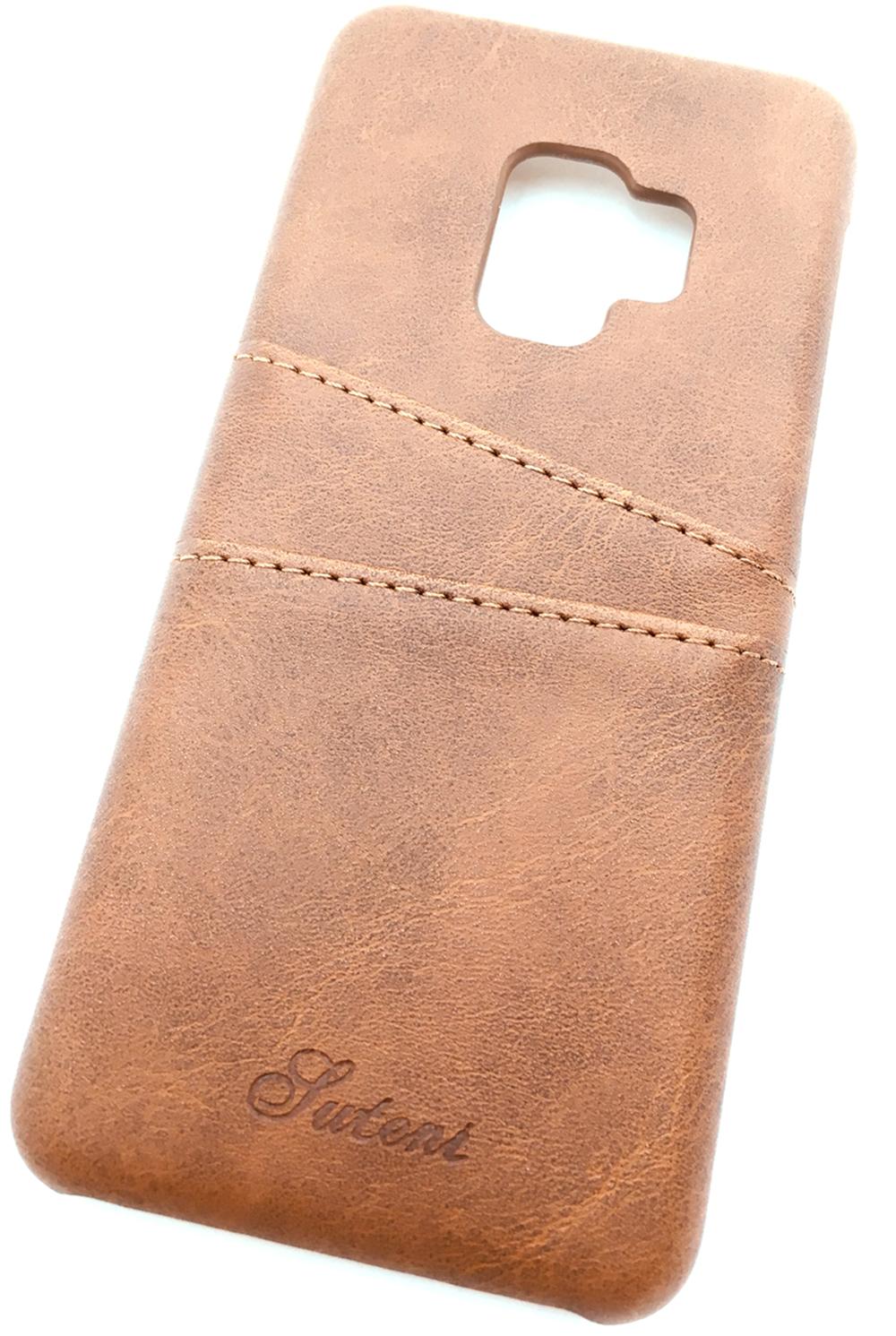Чехол для сотового телефона Мобильная мода Samsung S9 Накладка кожанная, с двумя карманами для карт, 7178A, коричневый