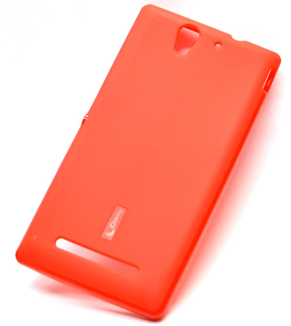 Чехол для сотового телефона Cherry Sony Xperia C3 Накладка резиновая с пленкой на экран, красный