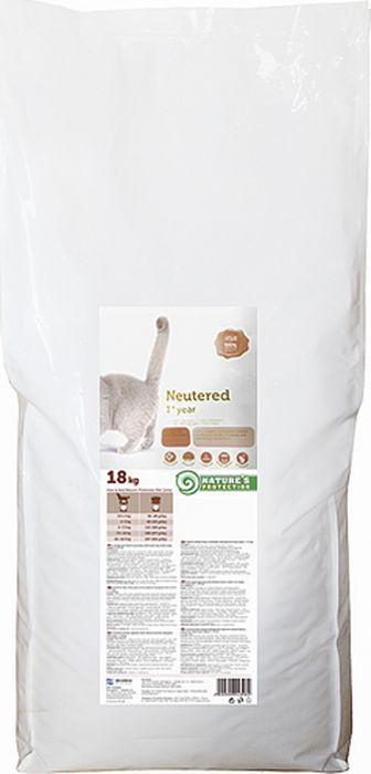 Корм сухой для кошек Nature's Protection Neutered, для стерилизованных кошек и кастрированных котов, 18 кг
