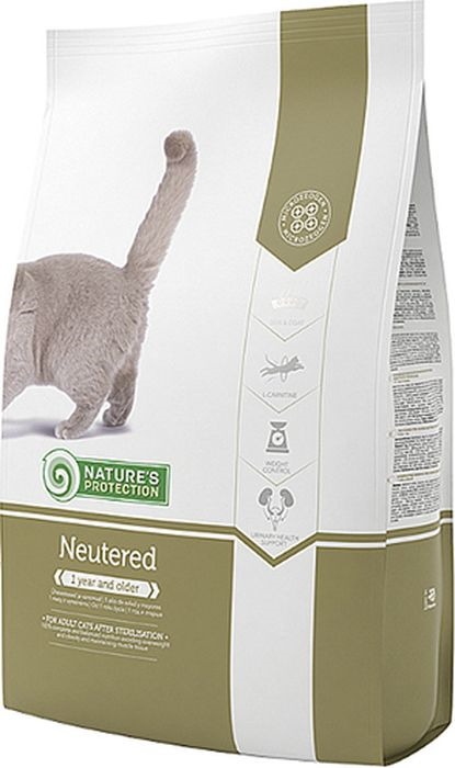 Корм сухой Nature's Protection для стерилизованных кошек и кастрированных котов, 7 кг