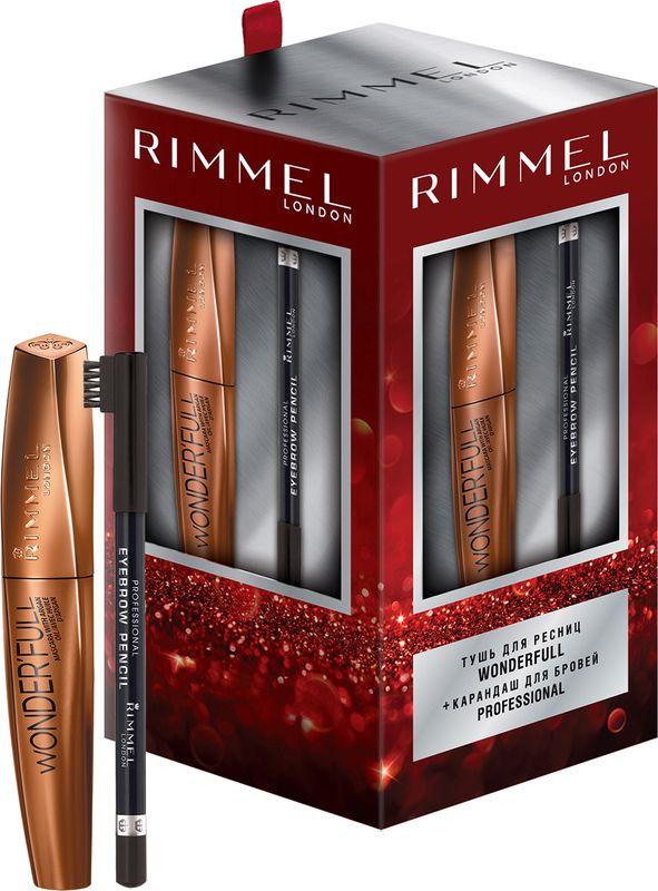 Подарочный набор декоративной косметики Rimmel: тушь для ресниц Wonderfull, тон 001, черный, 12 мл, карандаш для бровей Professional, тон 004, черный rimmel корректирующий карандаш hide the blemish 004 тон 5 2 мл
