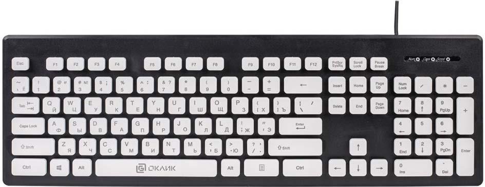 лучшая цена Клавиатура Oklick 580M, черный, белый