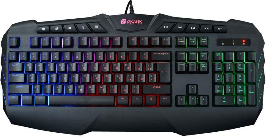 Игровая клавиатура Oklick 777G, черный игровая клавиатура smartbuy sbk 201gu k black игровая