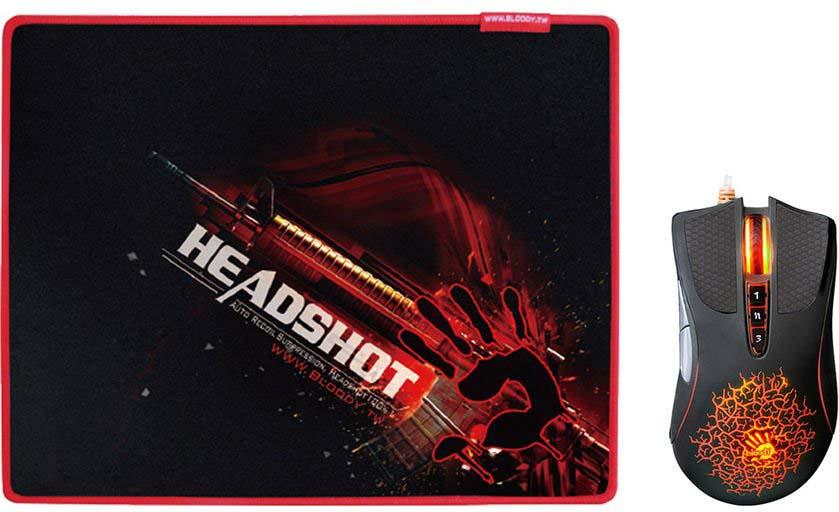 лучшая цена Комплект мышь + коврик A4Tech Bloody A9071, черный