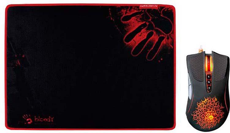 Комплект мышь + коврик A4Tech Bloody A9081, черный мышь a4tech bloody q81 коврик b 081s