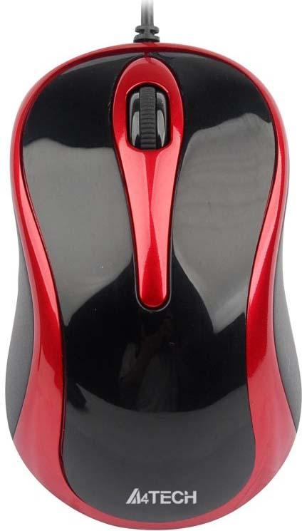 Мышь A4Tech N-350, черный, красный мышь проводная a4tech n 350 2 чёрный красный usb