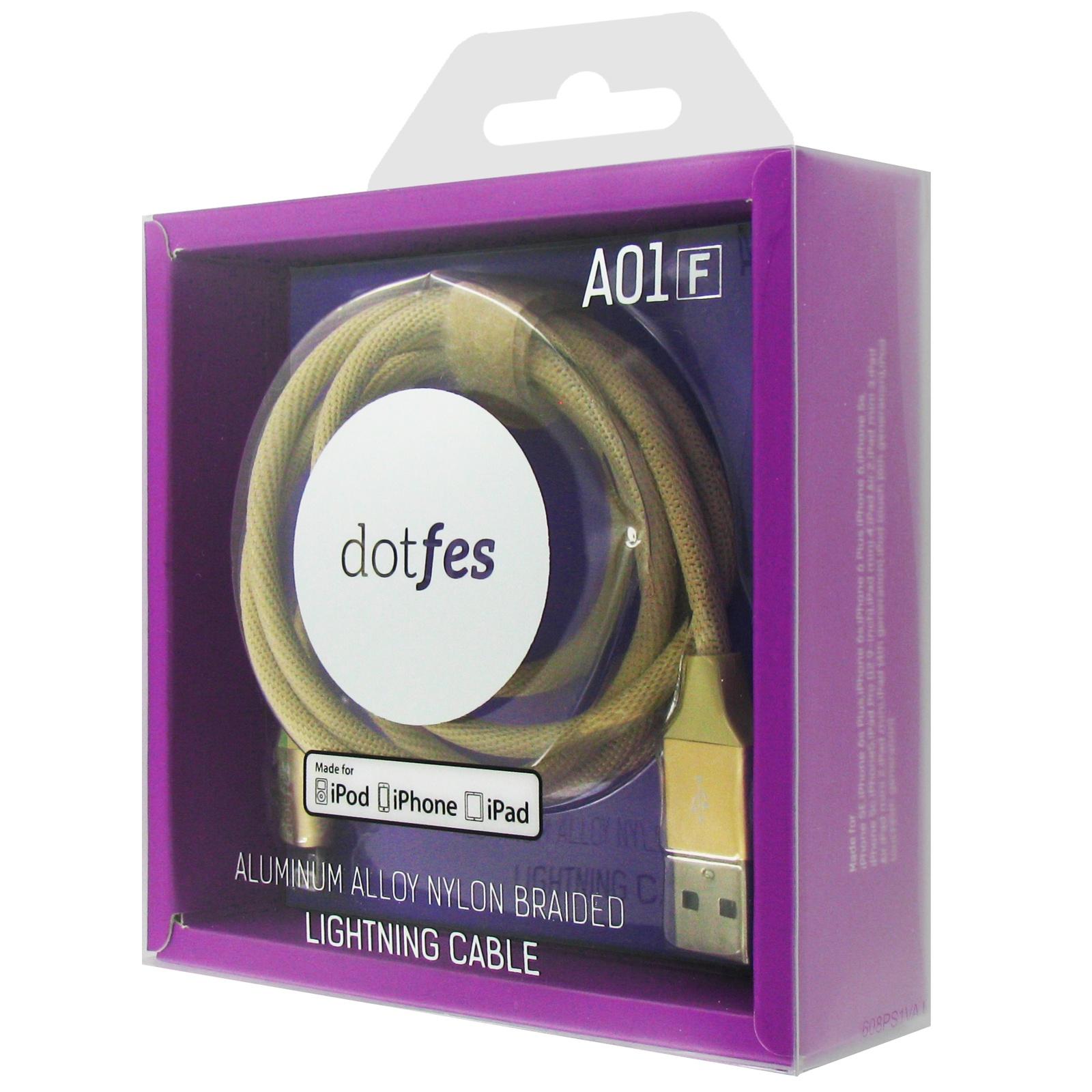 Кабель Dotfes A01F Gold, 14602, золотой