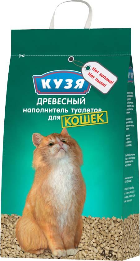 Наполнитель для кошачьего туалета Кузя, 810, древесный, 4,5 л наполнитель для кошачьего туалета vitaline из лиственных пород древесины 4 5 л