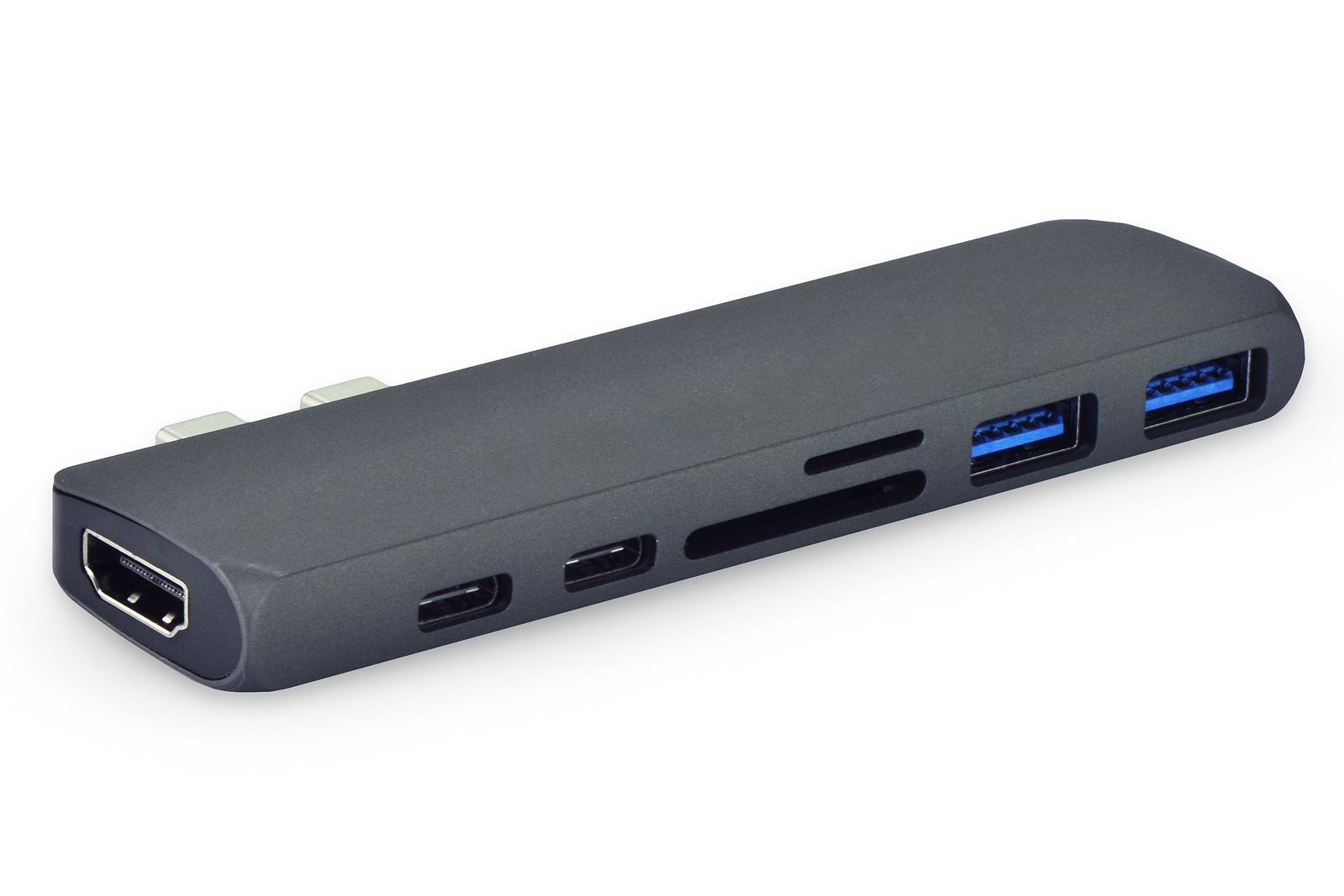 USB-концентратор Gurdini HUB 7 ports для Macbook Type-C to HDMI/USB/Card reader, черно-серый leef access c microsd reader usb c