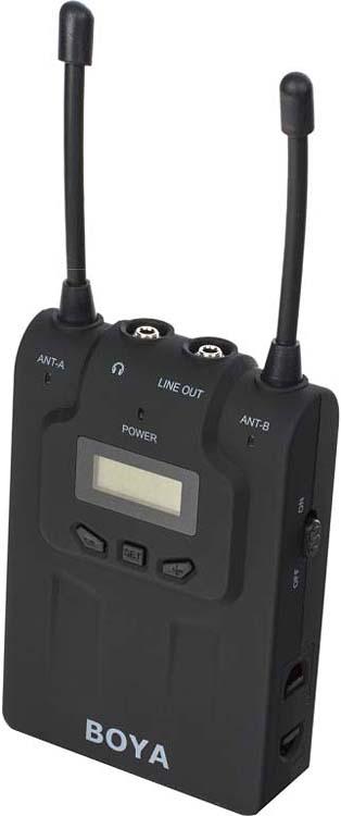 УКВ микрофонная система беспроводная Boya BY-WM8R двухканальная, PLL, 584 МГц - 608 МГц, 20 Гц-20 КГц, 60 Гц-15кГц, 74дБ, 100 м, 48 каналов беспроводная микрофонная система by wm8 pro k1
