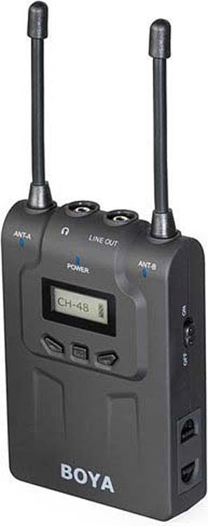 Двухканальная УКВ беспроводная микрофонная система Boya BY-WM8 Pro-K1, передатчик TX8 + приемник RX8, 48 каналов УКВ, 576,4 МГц - 599,9 МГц, 40 Гц-18 кГц, 100 м