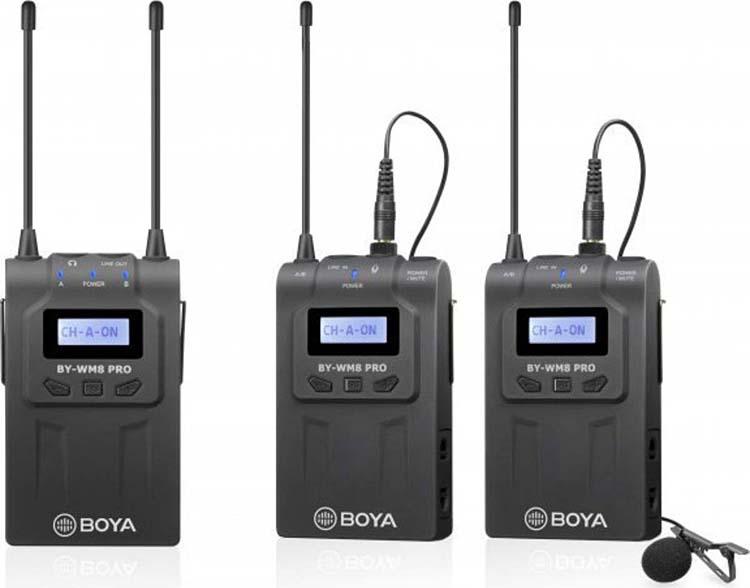 Двухканальная УКВ беспроводная микрофонная система Boya BY-WM8 Pro-K2, передатчик TX8 + приёмник RX8, 48 каналов УКВ, 576,4 МГц-599,9 МГц, 40 Гц-18 кГц, 100 м (3377)