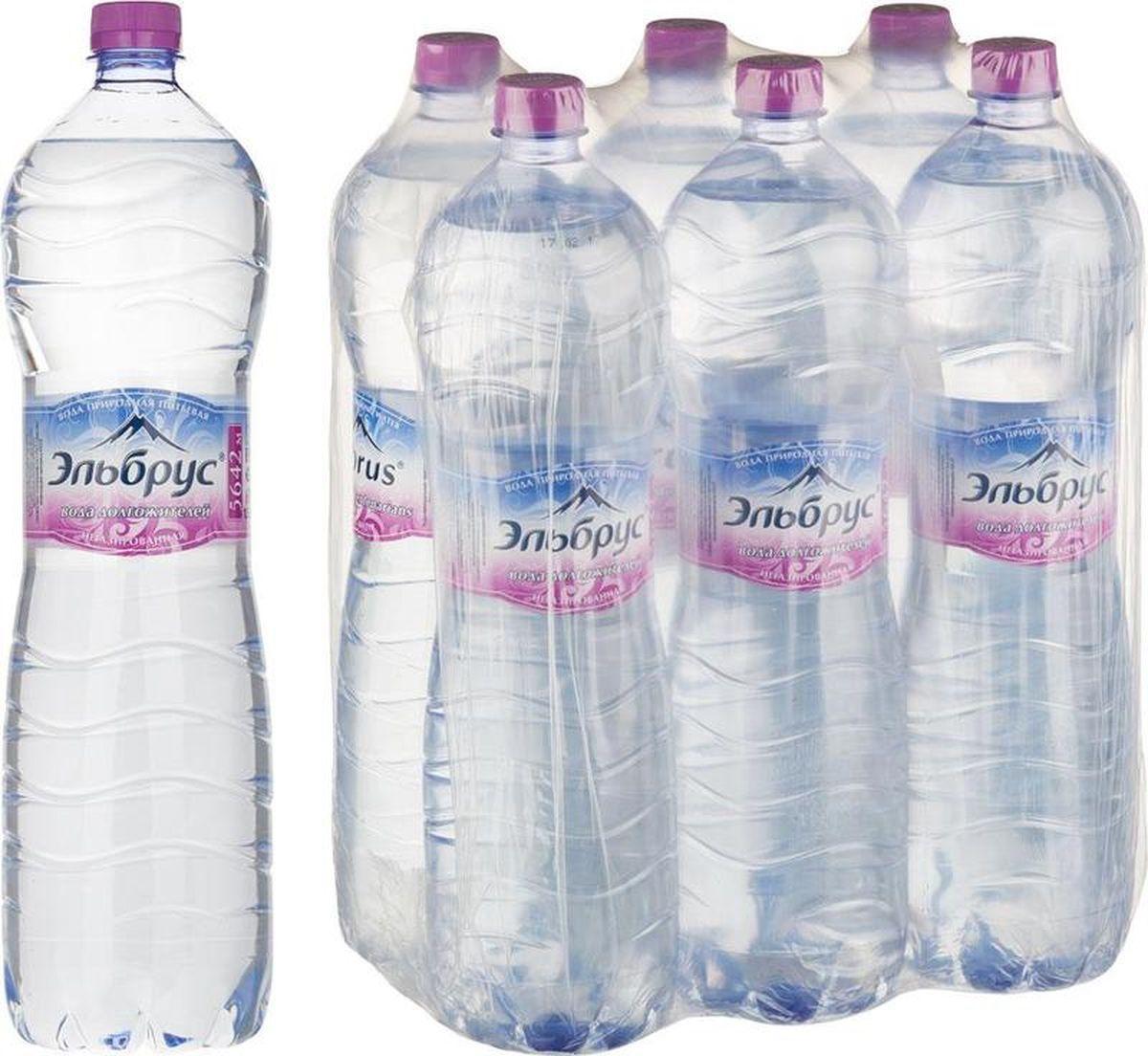 Вода питьевая Эльбрус, минеральная природная столовая негазированная, 6 шт по 1,5 л