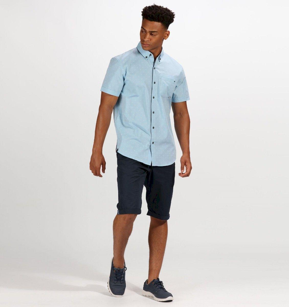 Рубашка мужская Regatta Damaso, цвет: синий. RMS119-9WM. Размер XL (56)RMS119-9WM100% Coolweave хлопок с рисунком/ 65% хлопок / 35% полиэстер, меланж. 1 карман на груди.