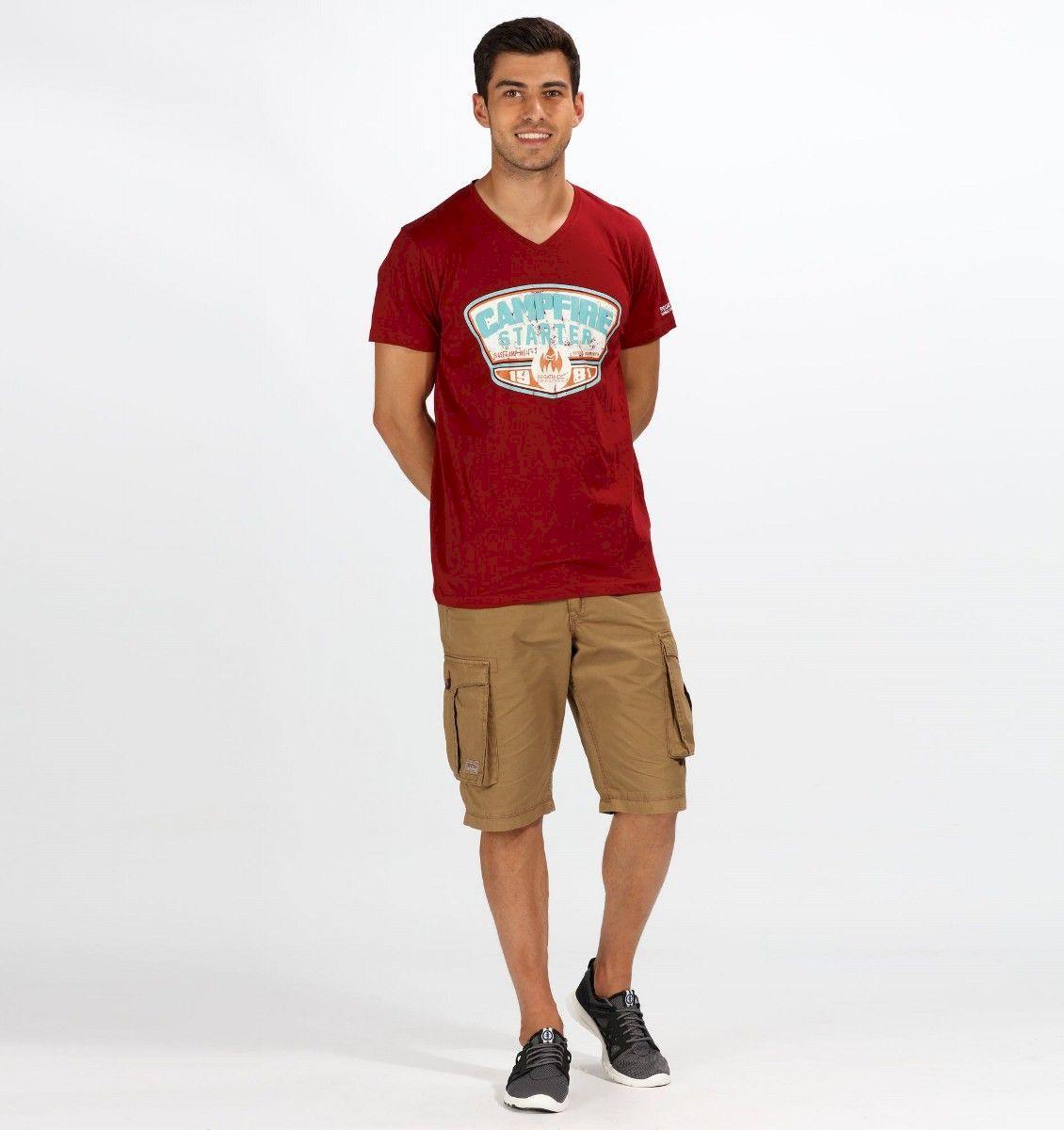 Футболка мужская Regatta Calton, цвет: красный. RMT193-649. Размер L (52/54)RMT193-649100% хлопок Coolweave. Графический рисунок. V-образный вырез горловины.