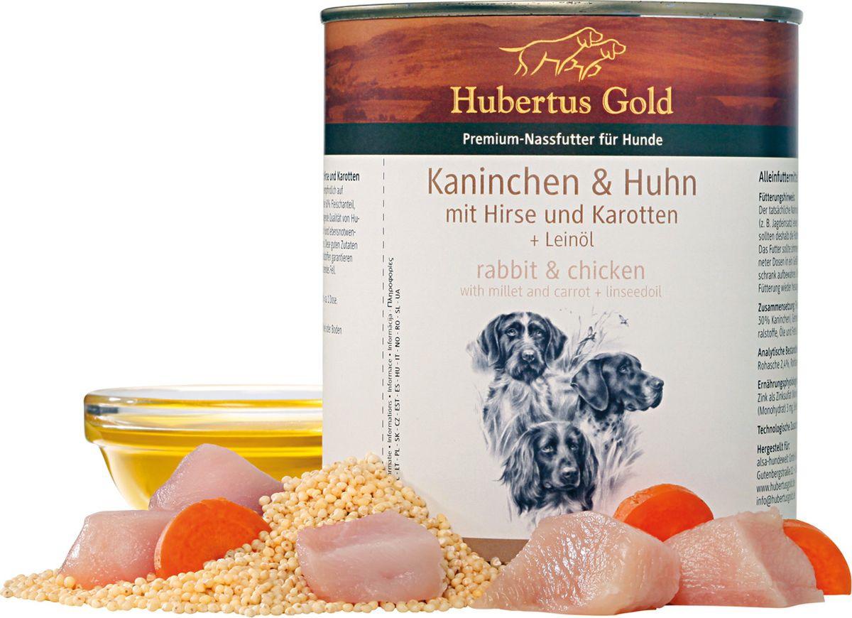 Консервы для собак Hubertus Gold, кролик с курицей и морковью, 800 гр