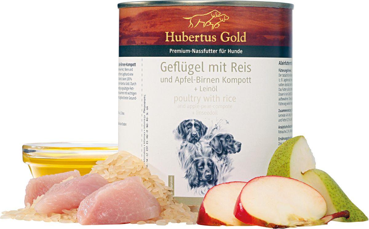Консервы для собак Hubertus Gold, мясо птицы с рисом, яблоками и грушей, 800 гр