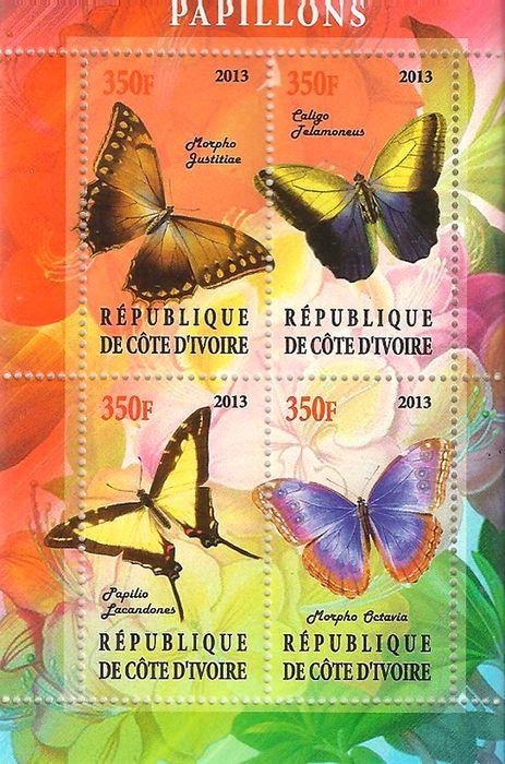 Блок марок Бабочки, Кот-д' Ивуар, 2013 блок марок бабочки кот д ивуар 2013