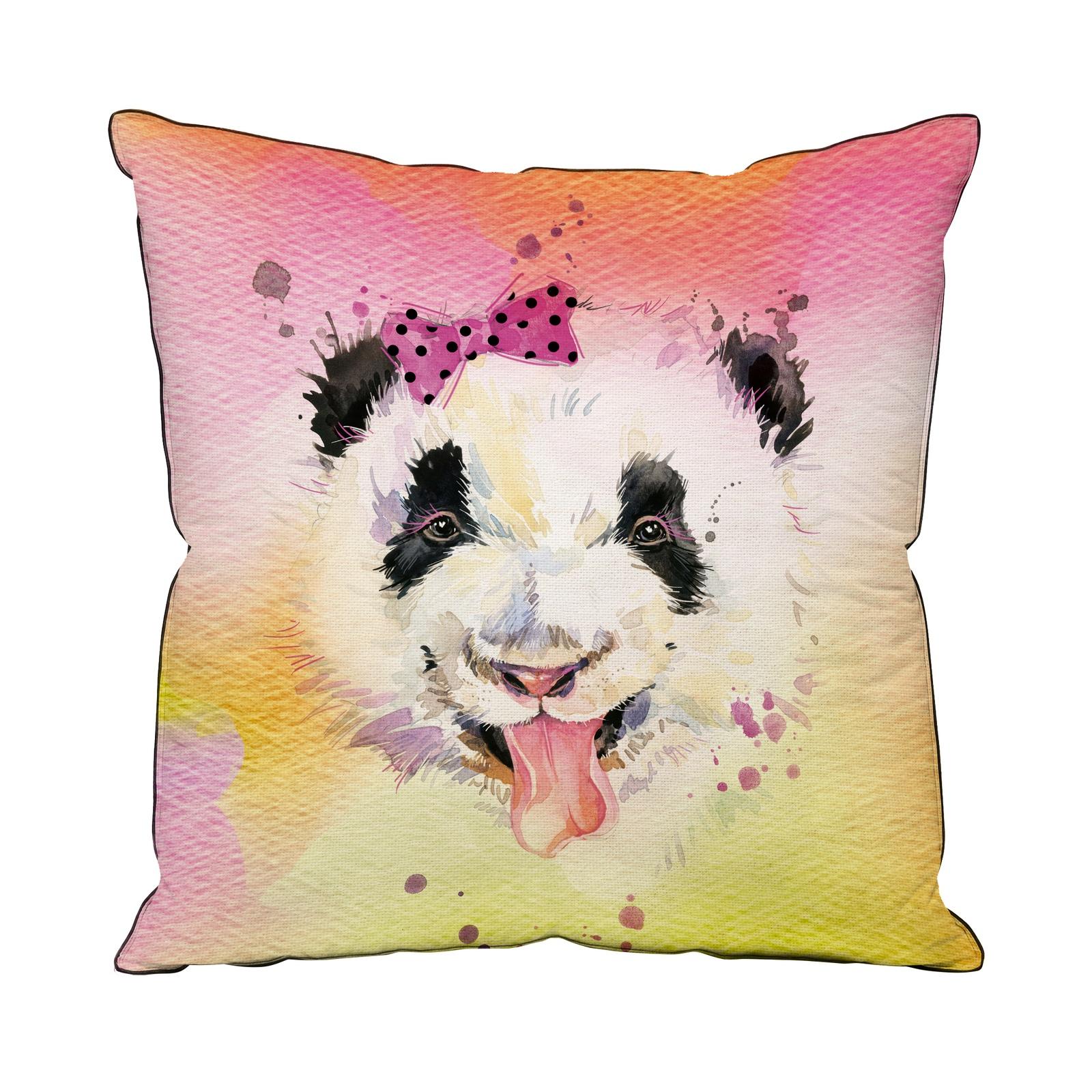 цена на Подушка декоративная ТК Традиция с фотопечатью Панда 40х40 см, 4052/Панда, розовый, желтый, черный