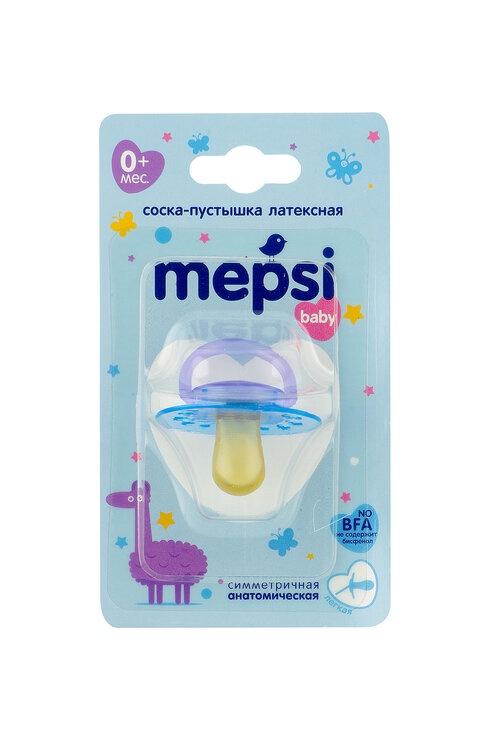Пустышка Mepsi Соска-пустышка латексная анатомическая, 0306 голубой