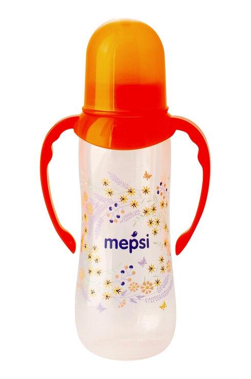 Бутылочка для кормления Mepsi Бутылочка для кормления с ручками с силиконовой соской, 0207 оранжевый для кормления ребенка на улице