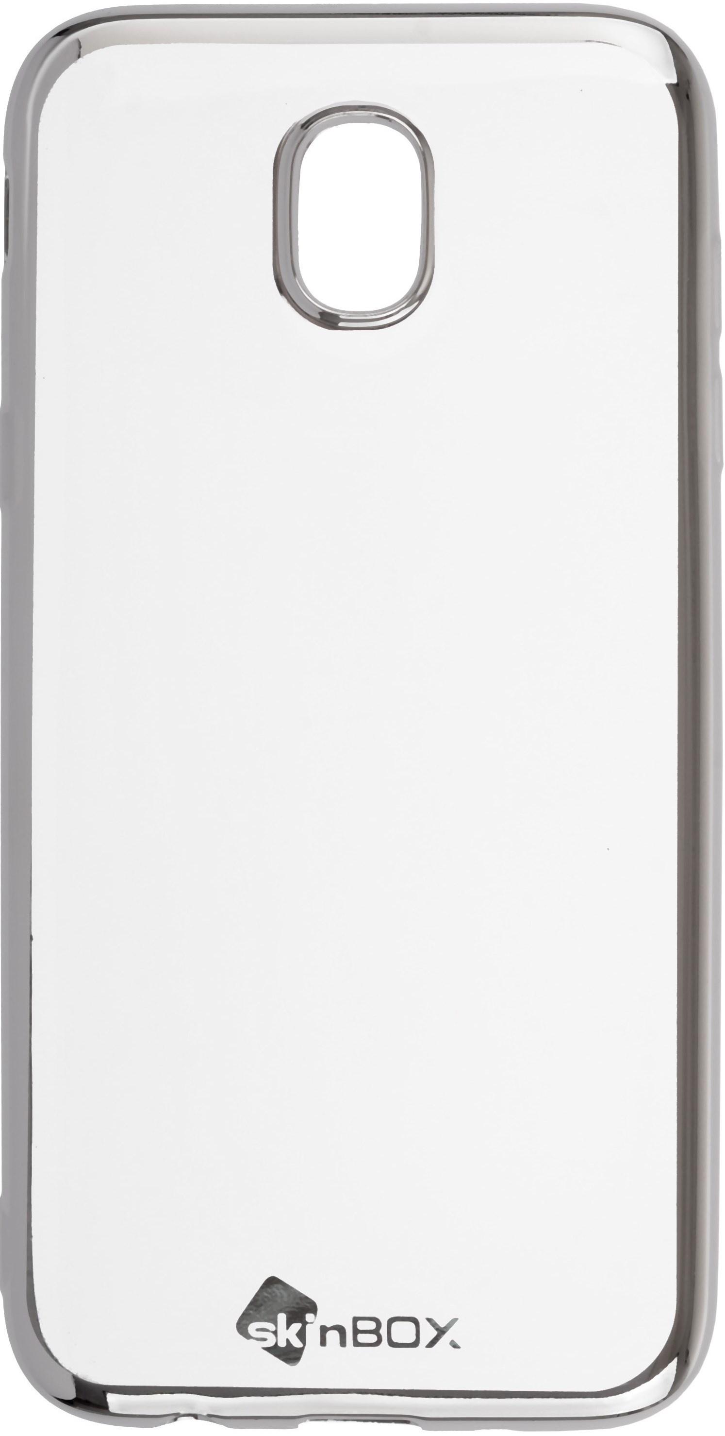 Чехол для сотового телефона skinBOX Silicone chrome border, 4630042529786, серебристый чехол для сотового телефона skinbox silicone chrome border 4630042528697 серебристый