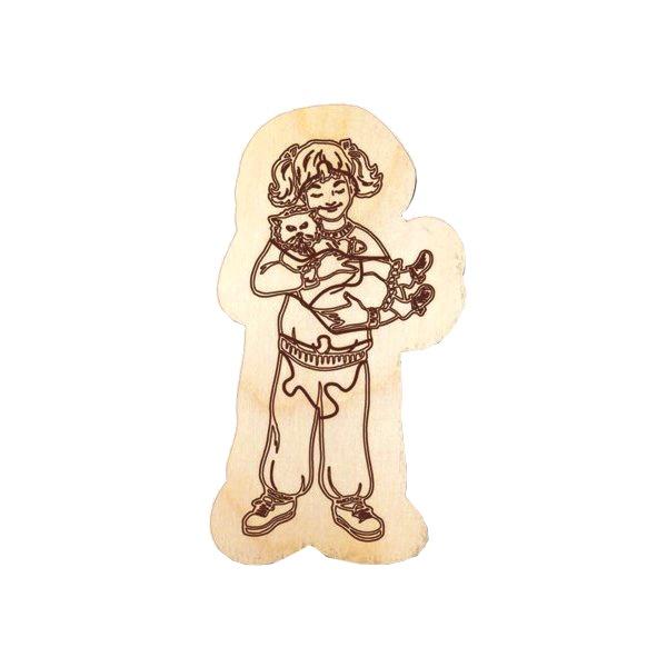 Пазл для раскр-ия ДЕВОЧКА С КОТОМ, арт.12393, Игрушка из дерева