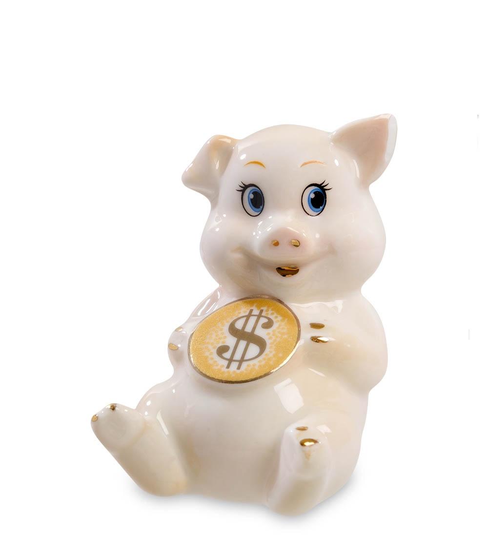Фигурка декоративная Art-East Свинья с монетой - к достатку XA-556, 108187