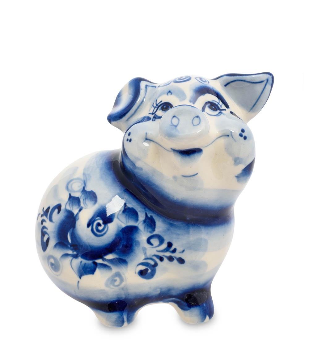 цена на Фигурка декоративная Гжельский фарфор Свинка ГЛ-452, 705902