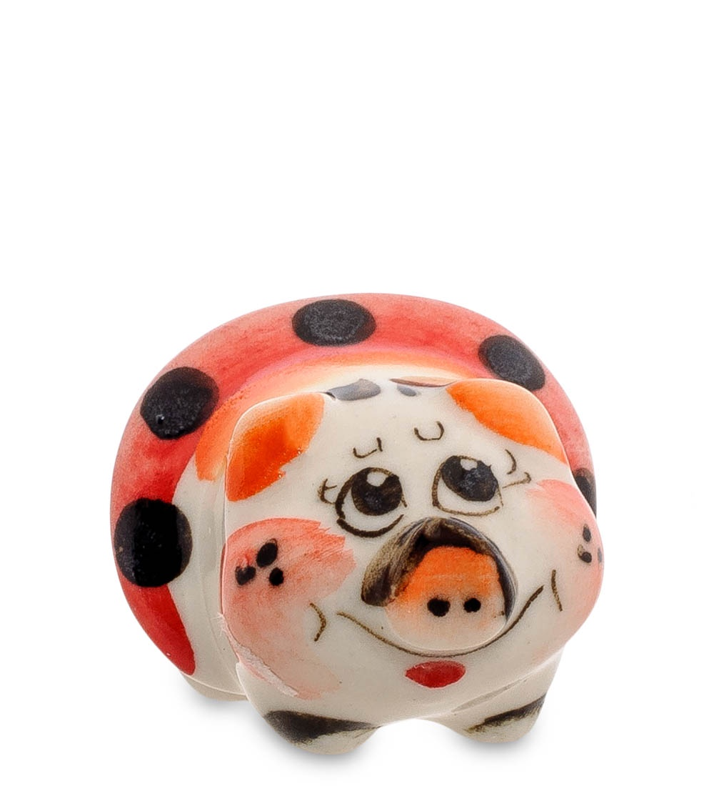цена на Фигурка декоративная Гжельский фарфор Свинка цв. ГЛ-501, 706211