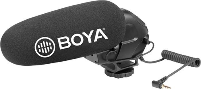 Микрофон-пушка накамерный конденсаторный Boya BY-BM3031 суперкардиоидный, для фото и видеокамер, диктофонов с раъемом 3,5 мм, переключатель уровня усиления сигнал, 40 Гц - 20кГц, 80 дБ
