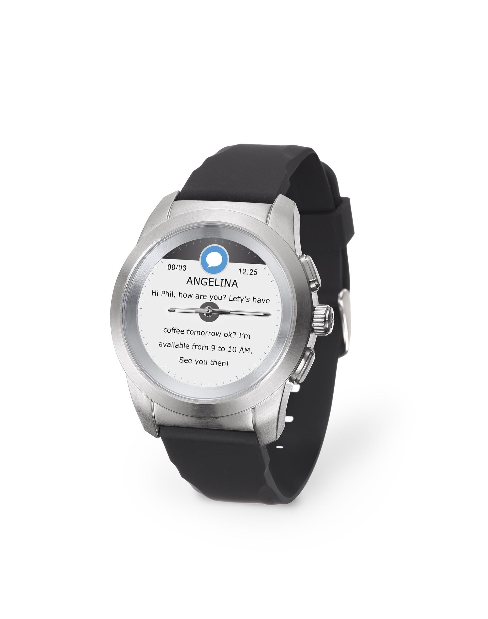 Умные часы MyKronoz ZeTime Original Regular, серебристый гибридные смарт часы mykronoz zetime original regular цвет матовое серебро черный