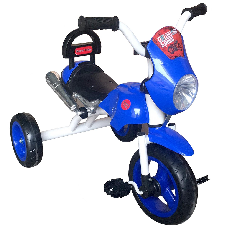 """Велосипед Super trike 264558, 264558, синий264558Технические характеристики: - размер в собранном виде (ДхШхВ): 75x48x58 см; - высота по сиденью: 32 см; Игровая панель со световыми и звуковыми эффектами; - металлическая рама; - материал - сталь; - колеса: из EVA с пластиковыми дисками; - переднее колесоколесо 25 см (10""""), задние 20 см (8""""); Пластмассовое сиденье со cпинкой; - максимальная нагрузка: до 25 кг."""