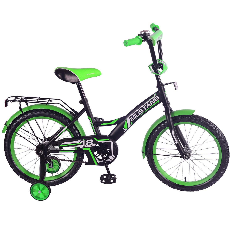 Велосипед Mustang ST18030-GW, черный, зеленый265201Велосипед детский - новинка ТМ «MUSTANG» - порадует юного велосипедиста своей комплектацией и функциями:- размер колес 18 дюймов - стальная классическая рама GW-тип- 1 скорость- задний ножной тормоз- регулируемый черный (ED) руль BMX с мягкой защитной накладкой- сидение с пенным наполнителем- багажник с пружинным зажимом- звонок- односоставной шатун- страховочные колеса с усиленным кронштейном- защита цепи «P» типа- крашенные крылья- стальные крашенные обода- ограничитель поворота руля - цвет черный с салатовым, матовыйВелосипед может стать для ребёнка любимым средством передвижения. Дети и подростки очень активны, им нравится прокладывать новые маршруты. Такая модель подойдёт для велосипедных прогулок по городу и на природе по монорельефным дорожкам.С велосипедом ребёнок будет проводить время не только приятно, но и с пользой для здоровья!Размер: 59 x 123 x 95 см. Материал металл.Рекомендуется для детей от 6 до 9 лет. Максимальная нагрузка до 40 кг.