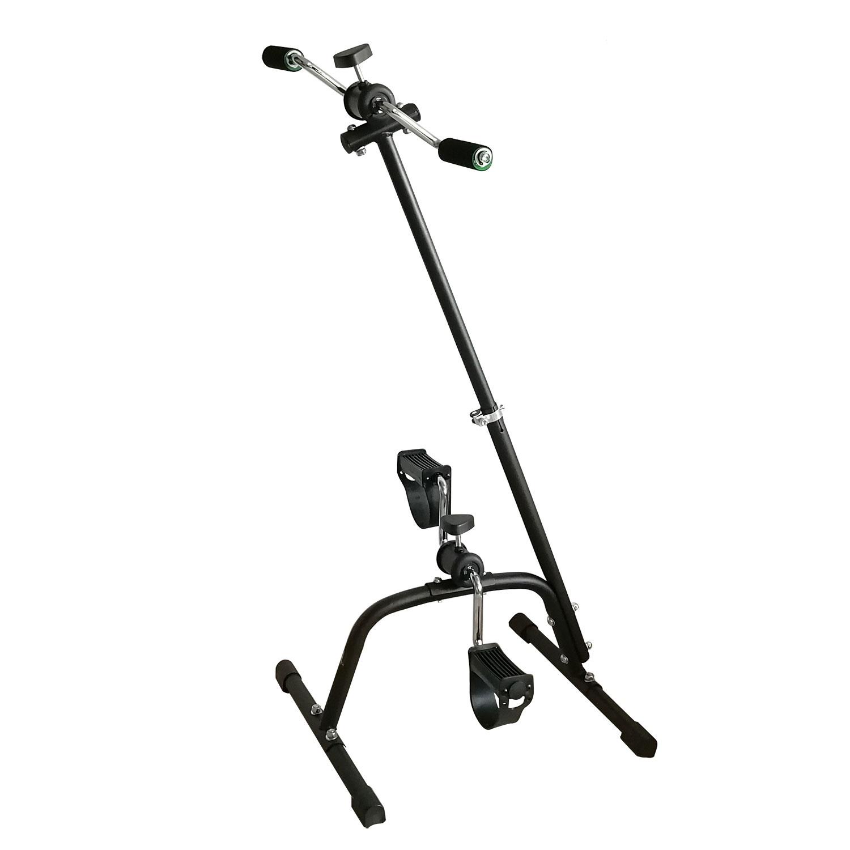 Велотренажер DFC B6008, B6008, серебристый, черныйB6008Педальный велотренажер dual bike для рук и ног. Уникальная конструкция разработана специально для реабилитации, и в дальнейшем адаптирована для людей с различной физической подготовкой.Рекомендуется для занятий пожилым людям, и в качестве реабилитационного оборудования.Занятия на тренажере помогают улучшить кровообращение и координацию движения, сжигается жир, мышцы приводятся в тонус.Стойка велотренажера с регулировкой позволяет установить оптимальную высоту верхних педалей для удобства занятий людям разной комплекции.Педали для ног оборудованы резиновыми ремешками. Занятия на тренажере выполняются сидя на стуле, кресле и любимом диване.Необходимую нагрузку (сопротивление) педалей можно отрегулировать отдельно для рук и для ног с помощью удобной пластиковой ручки.Нагрузка: механическаяВес пользователя: до 100 кгРазмер тренажера: 43,5 х 41 х 94 смВес тренажера: 3,6 кгРазмер упаковки: 47 х 13 х 22 смОбъем упаковки: 0,013 м?Вес упаковки: 4 кгБренд: DFCСтрана производства: КитайГарантия: 12 месяцев