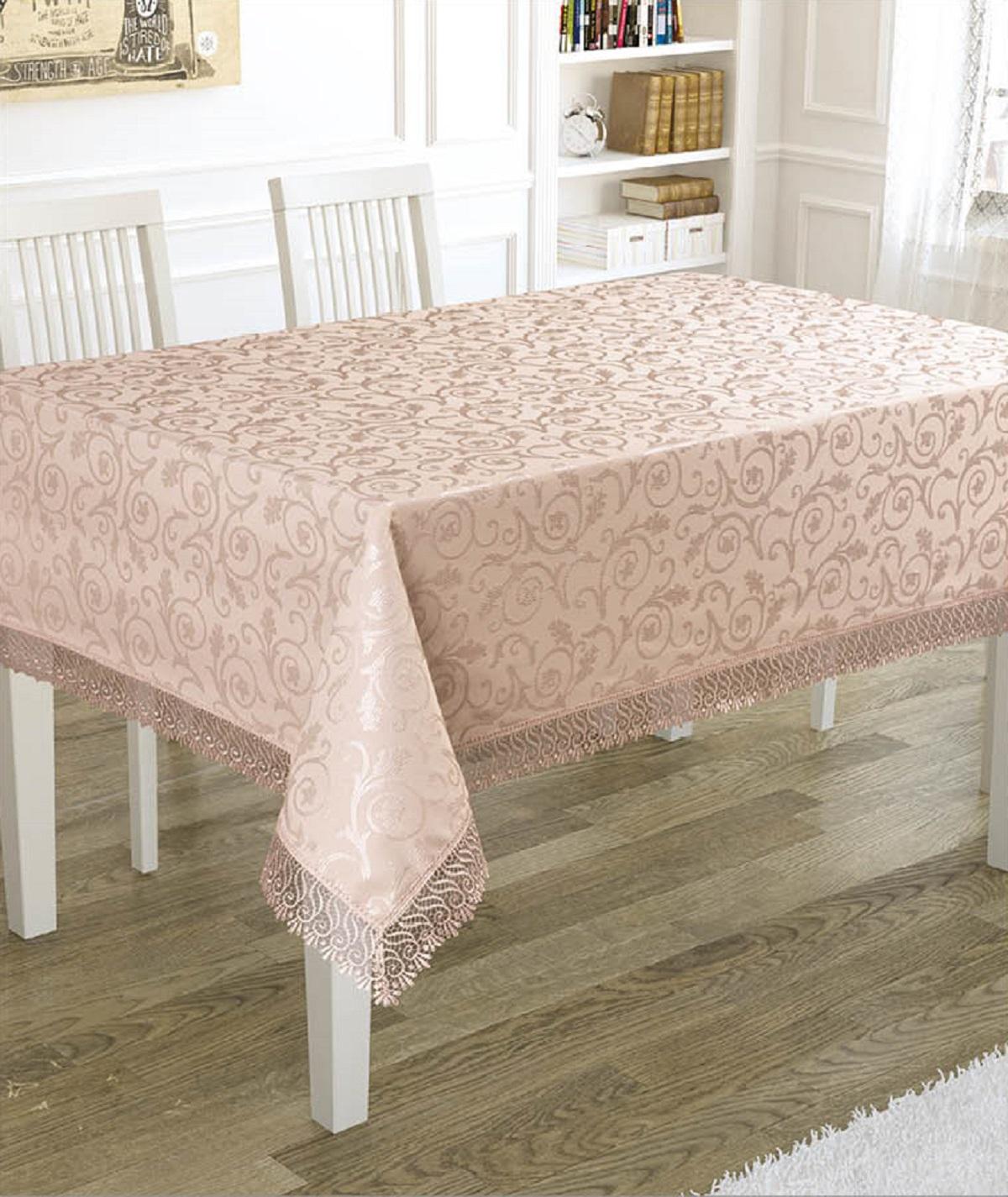 Скатерть Karna KDK, прямоугольная, 3144/CHAR004, светло-розовый, 160 х 300 см